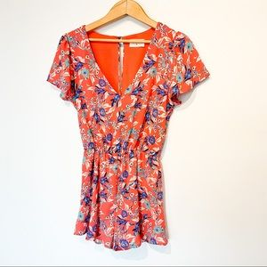 Floral EVERLY Coral & Blue Romper